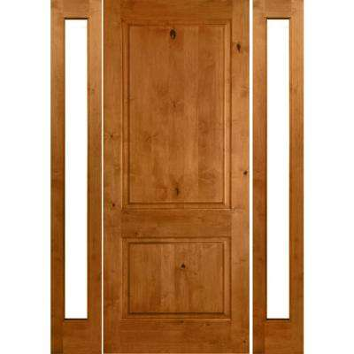 58 in. x 96 in. Rustic Unfinished Knotty Alder Square-Top Wood Right-Hand Full Sidelites Clear Glass Prehung Front Door