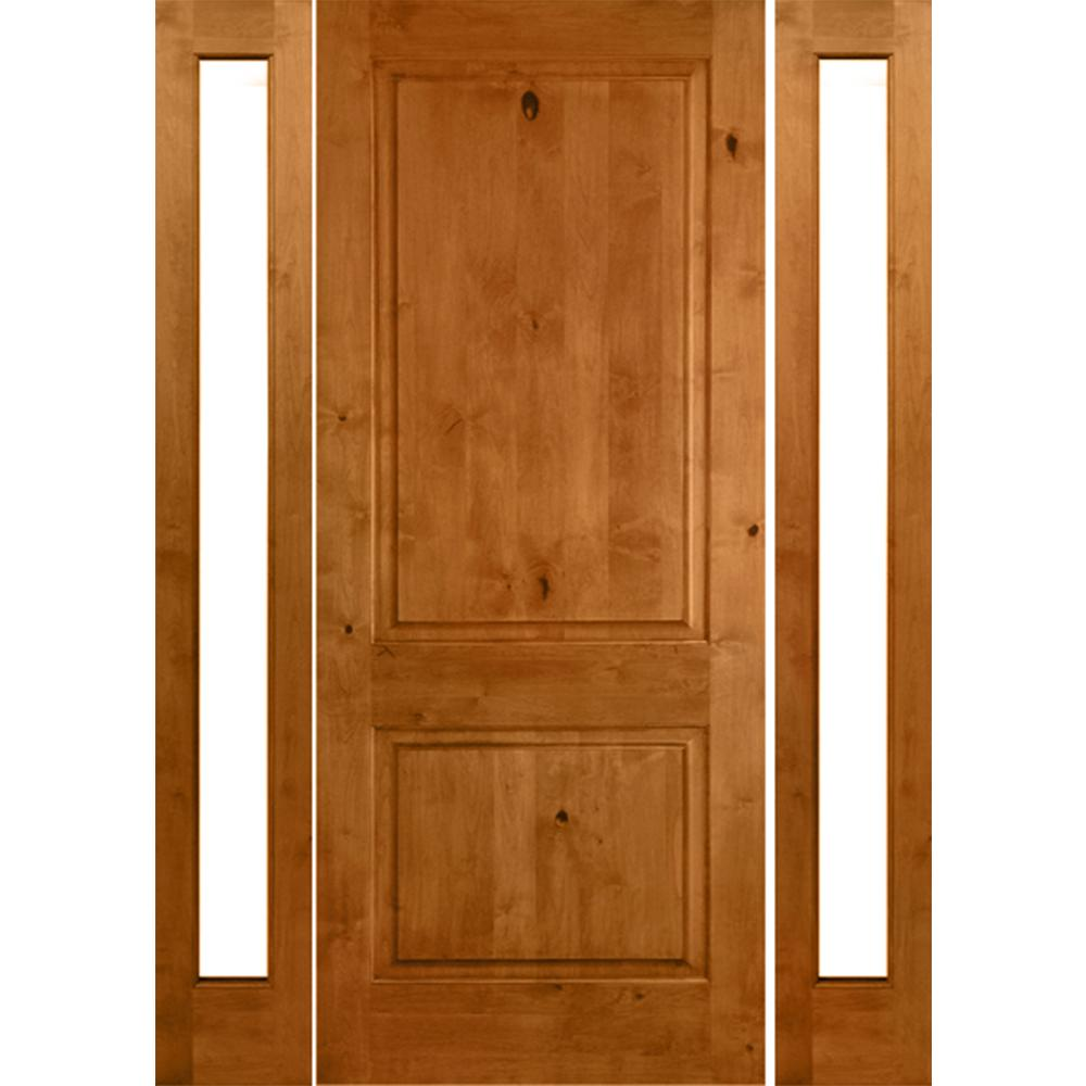 Krosswood Doors 64 In X 80 In Rustic Alder Square Clear Low E Unfinished Wood Right Hand