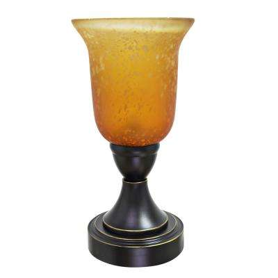 13-1/2 in. Matte Black Metal Table Lamp with Gold Trim and Glass Lamp Shade in Ombre Amber