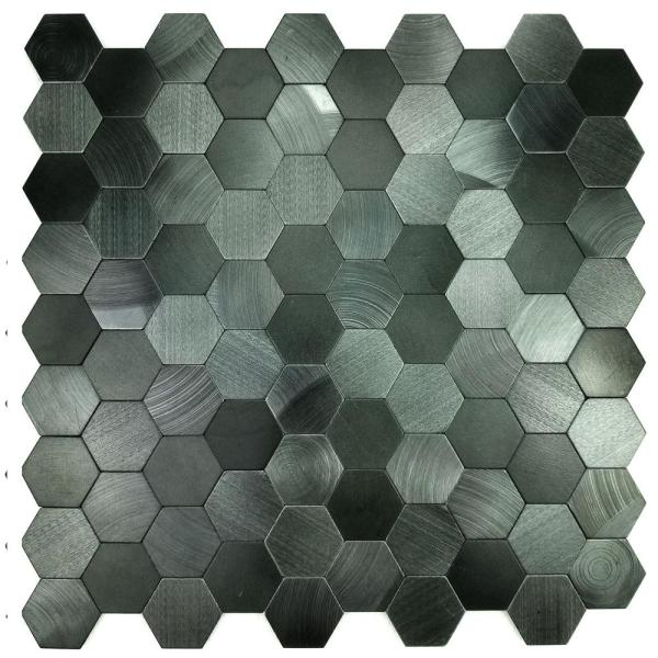 ABOLOS Mosaic 1 in. x 1 in. Hexagon Blue Gray Brushed
