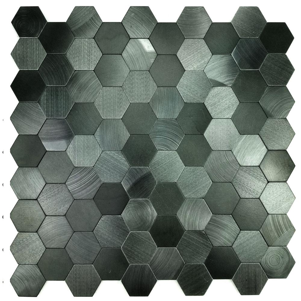 Enchanted Metals 12 in. x 12 in. Blue Gray Aluminum Hexagon