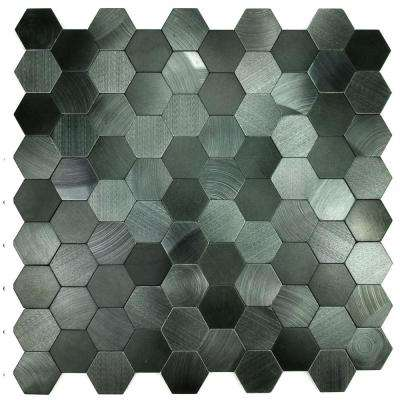 Enchanted Metals 12 in. x 12 in. Blue Gray Aluminum Hexagon Peel and Stick Decorative Wall Tile