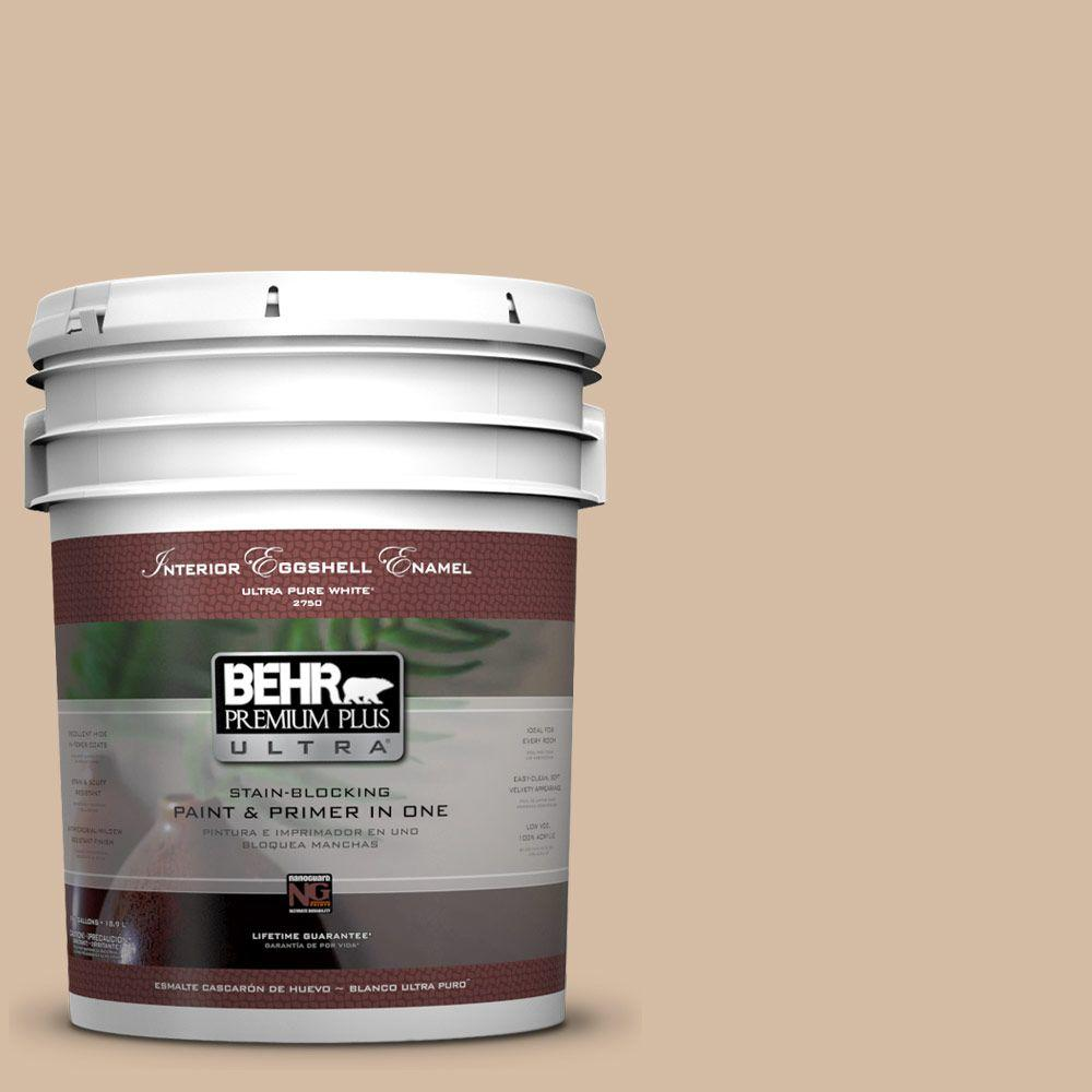 BEHR Premium Plus Ultra 5 gal. #PWL-86 Nutty Beige Eggshell Enamel Interior Paint and Primer in One