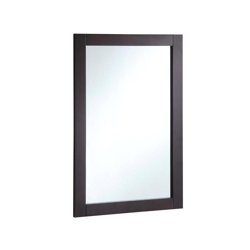 16.06 in. W x 26.06 in. H Framed Rectangular Bathroom Vanity Mirror in Espresso