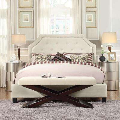 Monarch White Queen Upholstered Bed
