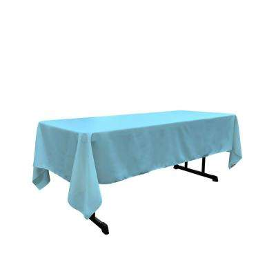 Polyester Poplin 60 in. x 144 in. Light Turquoise Rectangular Tablecloth