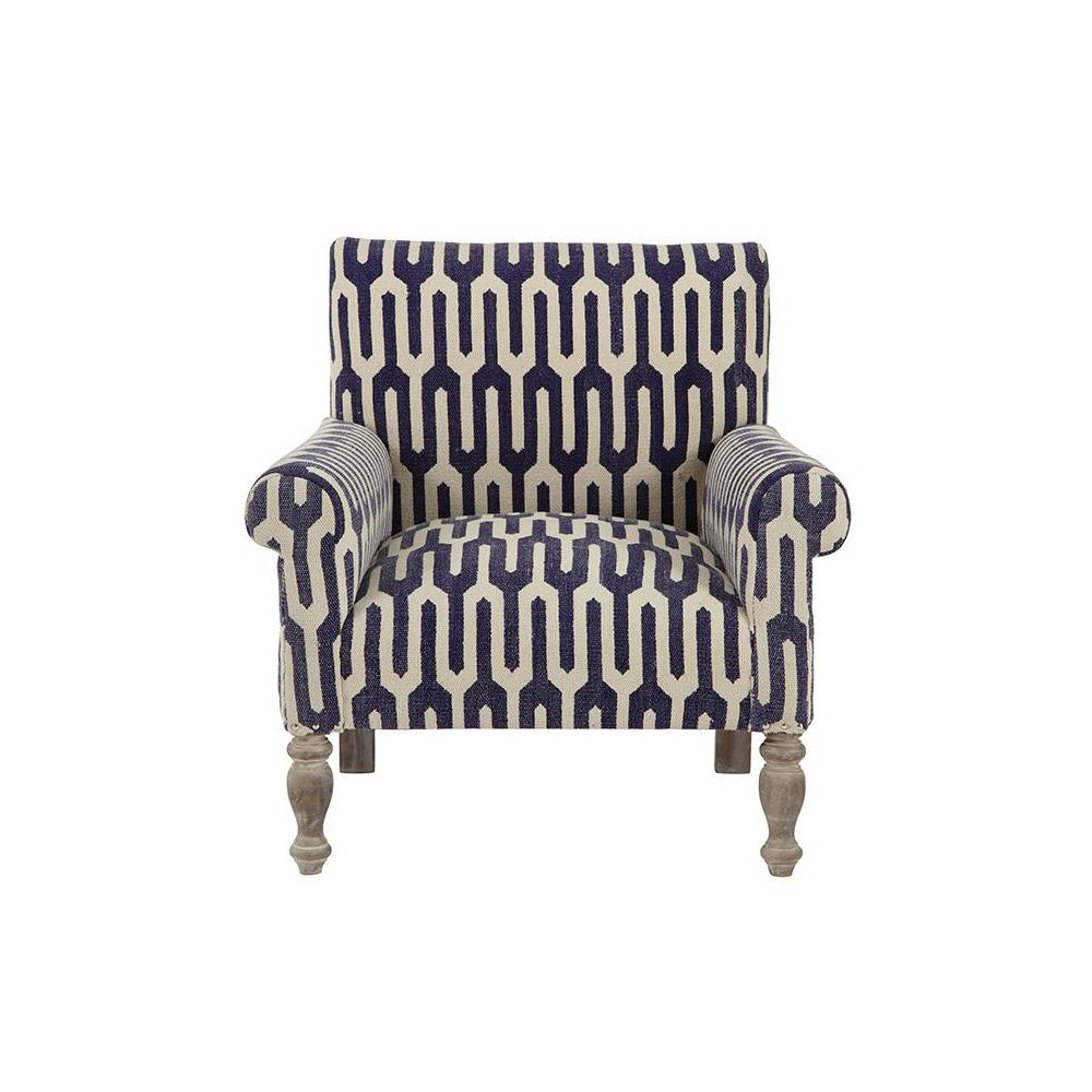 Bon Ivy Geometric Indigo Kilim Arm Chair