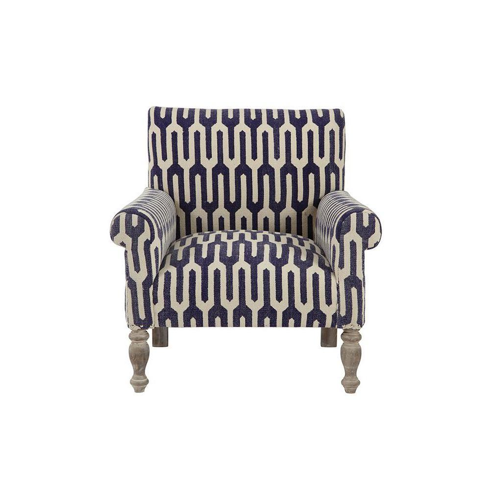 Ivy Geometric Indigo Kilim Arm Chair