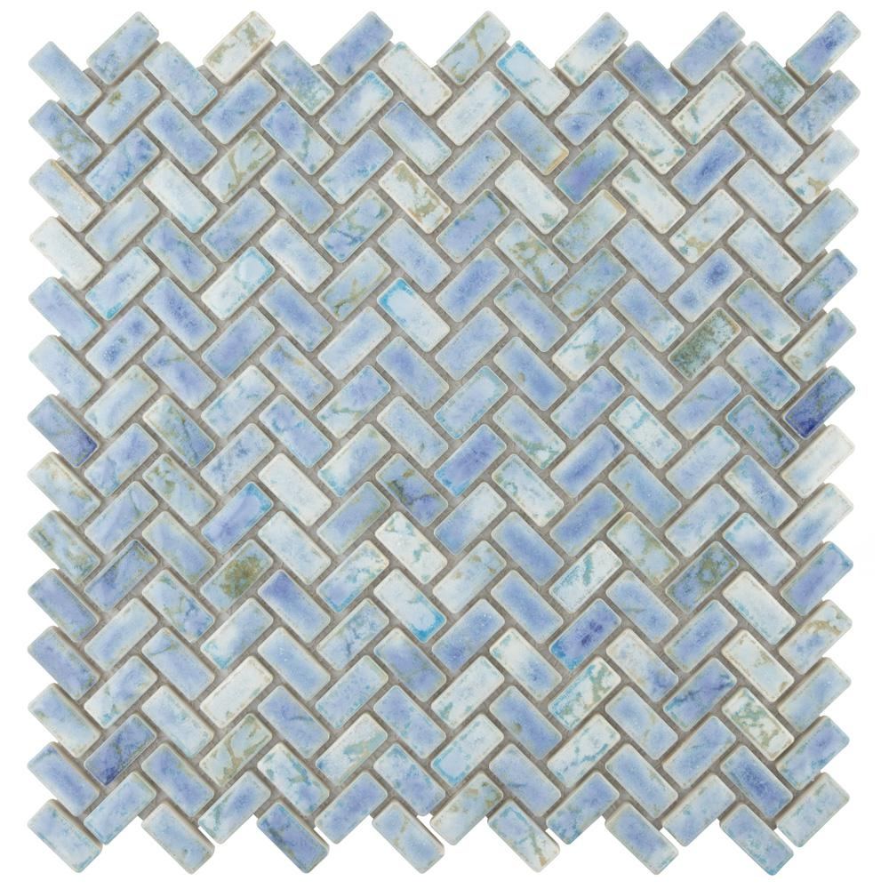 - Merola Tile Rustica Herringbone Neptune Blue 11-5/8 In. X 11-5/8 In. X 8 Mm  Porcelain Mosaic Tile-FCPRSHNP - The Home Depot