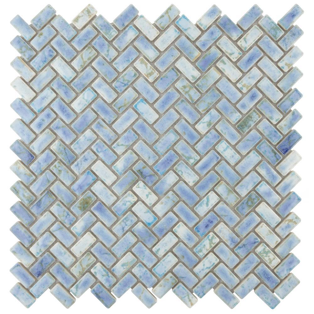 Rustica Herringbone Neptune Blue 11-5/8 in. x 11-5/8 in. x 8 mm Porcelain Mosaic Tile