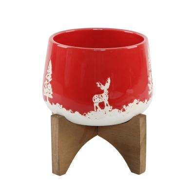 6 in. Red Ceramic Christmas Trees and Deer Textured Planter on Wood Stand