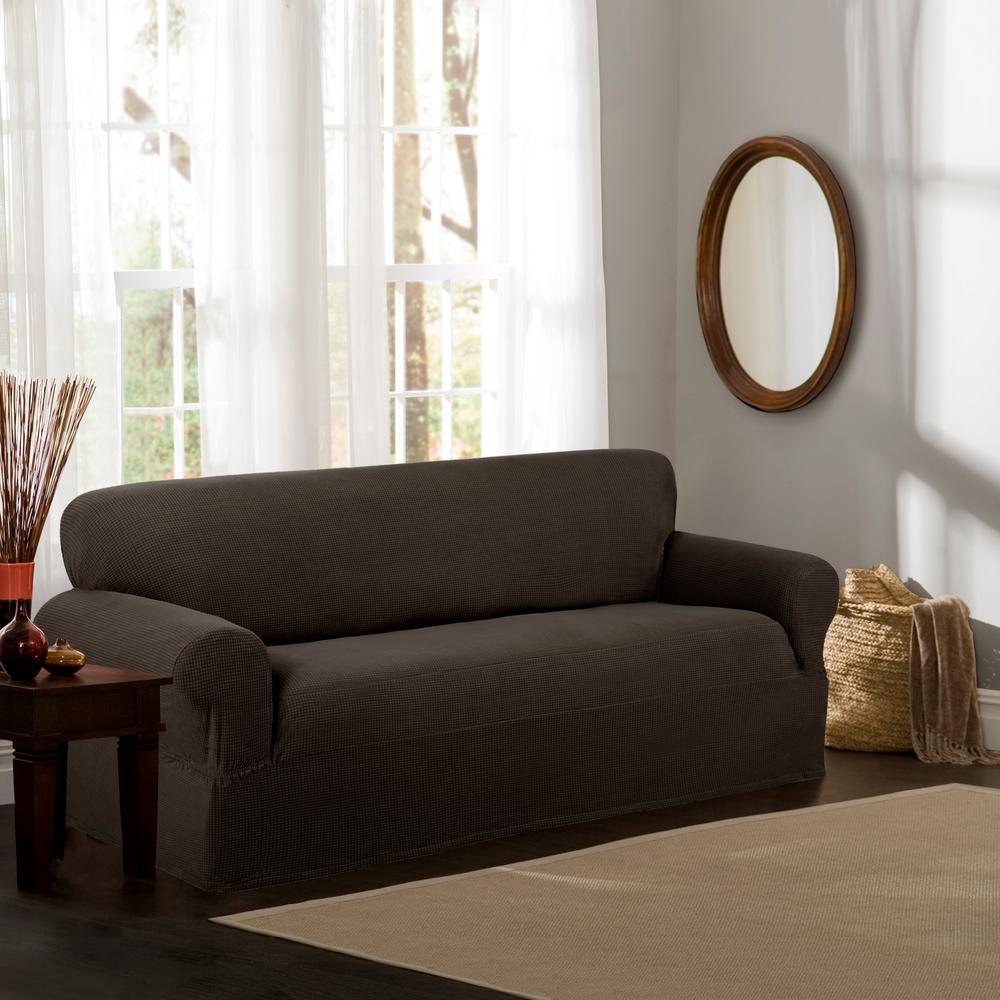 Reeves Stretch 1-Piece Chocolate Sofa Slipcover