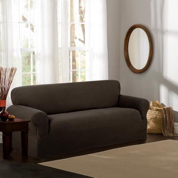 Cool Maytex Reeves Stretch 1 Piece Chocolate Sofa Slipcover Home Interior And Landscaping Eliaenasavecom
