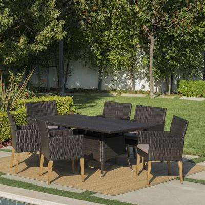 Barnett Multi-Brown 7-Piece Wicker Outdoor Dining Set with Mocha Cushions