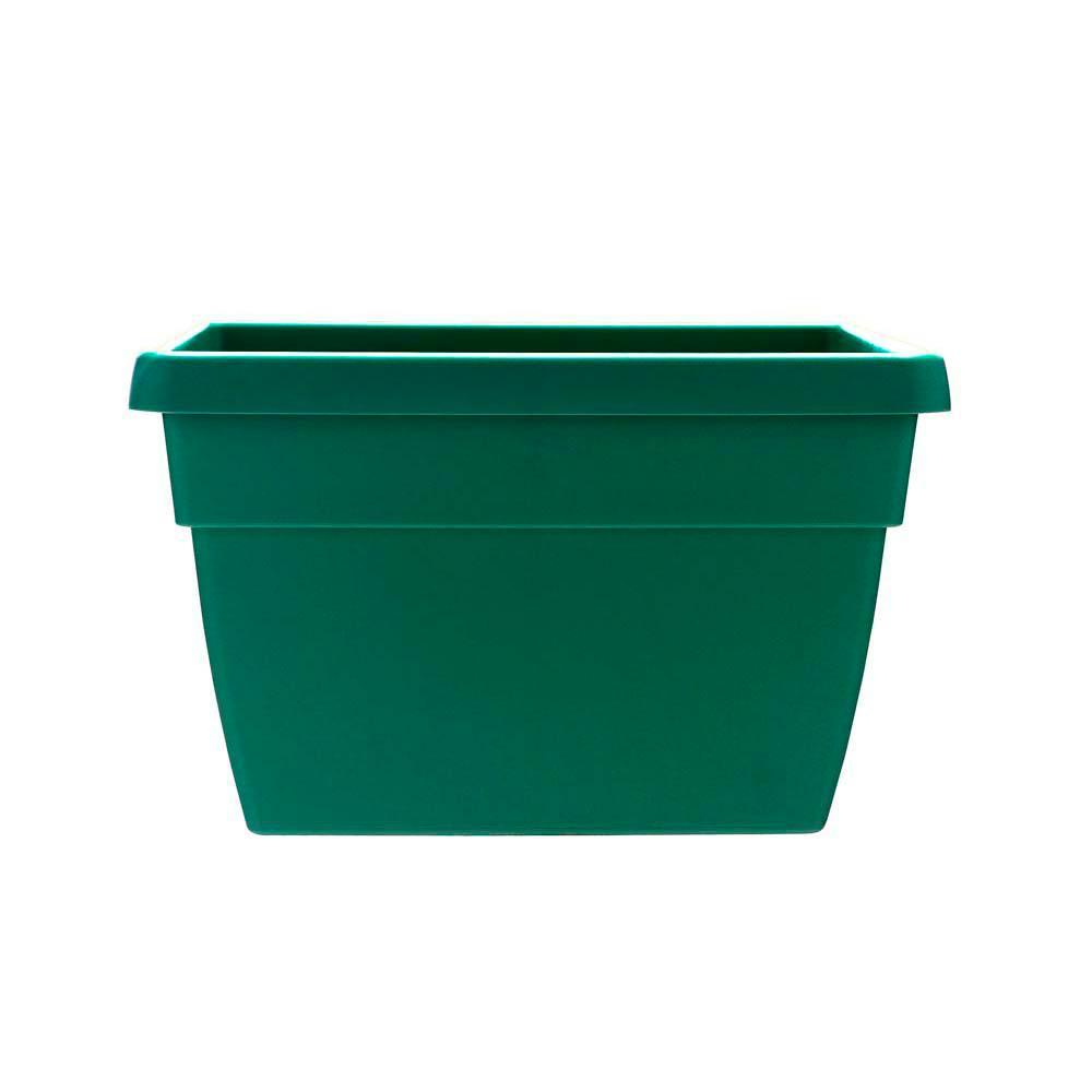 Newbury 12 in. x 15.75 in. Cadmium Green Plastic Poly Railing Planter
