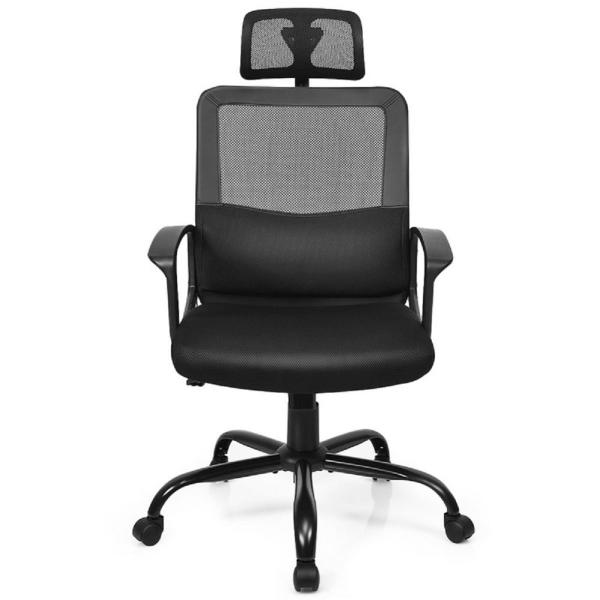 Costway Black Mesh High Back Office Chair Ergonomic Swivel Chair With Lumbar Support And Headrest Hw63774 The Home Depot