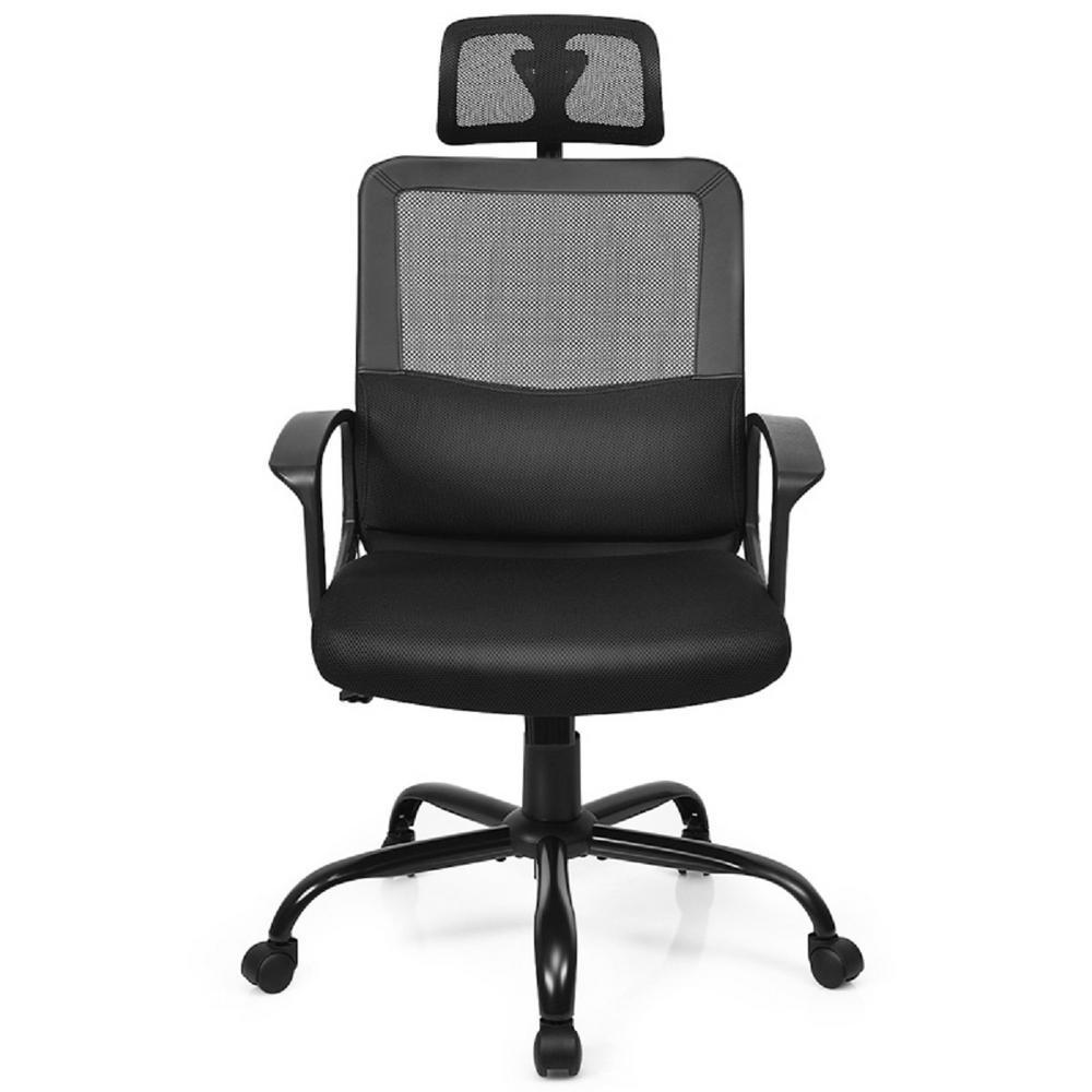Black Mesh High Back Office Massage Chair Ergonomic Swivel Chair with Lumbar Support& Headrest