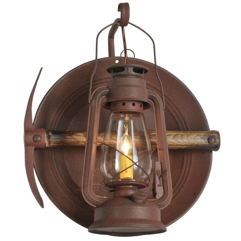 Illumine 1 Light Lantern Wall Sconce Distressed Rust Finish
