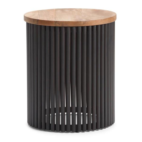 Simpli Home Demy Contemporary Round 18 in. Wide Metal and Wood