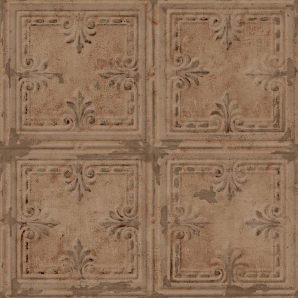 Copper Tin Tile Vinyl Peelable Wallpaper (Covers 28.18 sq. ft.)