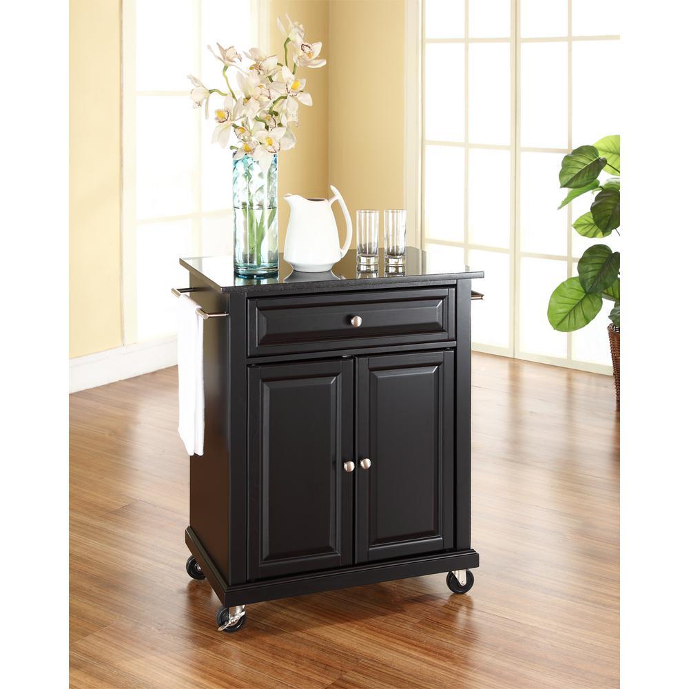 Crosley Black Kitchen Cart With Black Granite Top KF30024EBK
