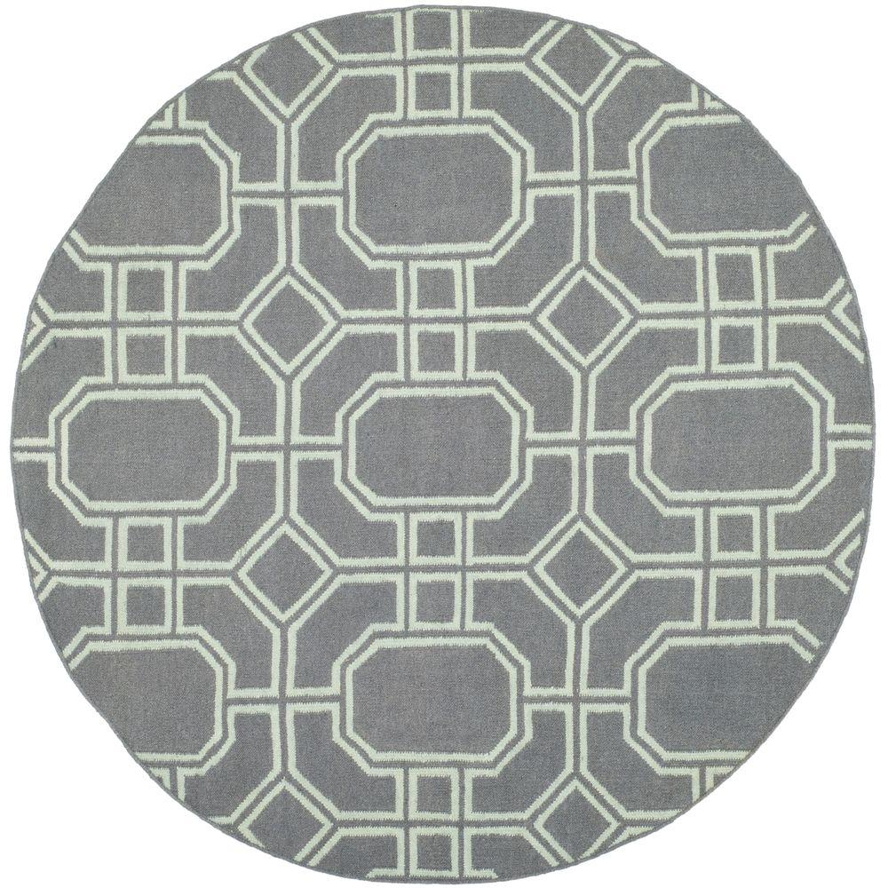 Dhurries Grey/Light Blue 6 ft. x 6 ft. Round Area Rug
