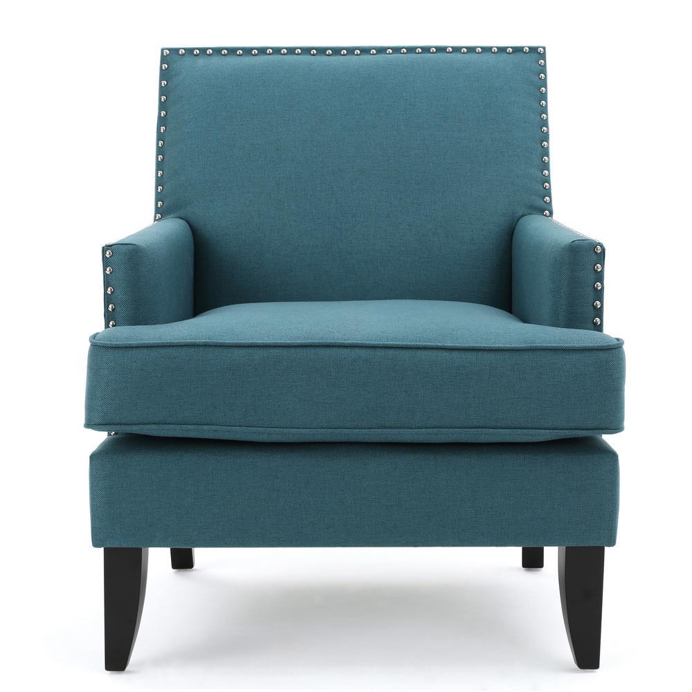 Noble House Tilla Studded Dark Teal Fabric Club Chair