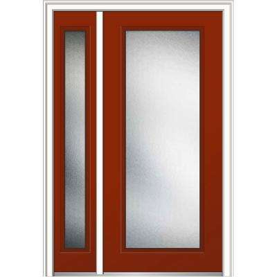 48 in. x 80 in. Micro Granite Glass Right-Hand Full Lite Classic Painted Steel Prehung Front Door with Sidelite