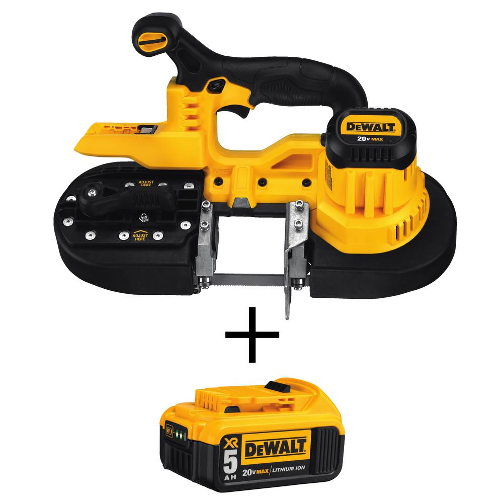 DEWALT 20-Volt MAX Lithium-Ion Cordless Band Saw with Free Premium Battery Pack 5.0 Ah