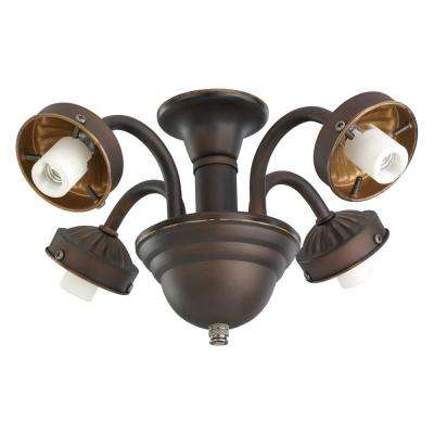 4-Light Roman Bronze Fitter Ceiling Fan Light
