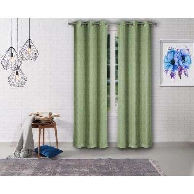 Lonnie 38 in. W x 84 in. L Polyester Window Panel in Green