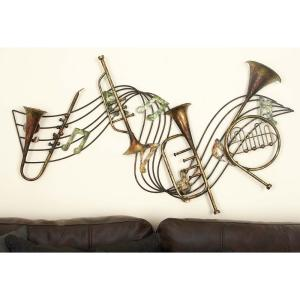 22 inch x 39 inch Musical Notes and Instruments Wall Decor in Distressed Iron by