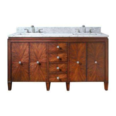 Brentwood 61 in. W x 22 in. D x 35 in. H Vanity in New Walnut with Marble Vanity Top in Carrera White and Basin