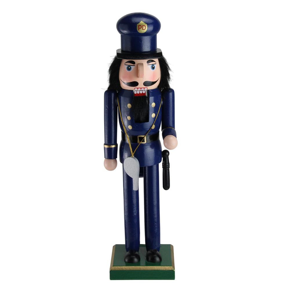 14 in. Decorative Wooden Christmas Nutcracker Police Officer