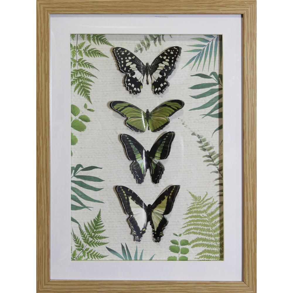 Arthouse 3D Butterflies and Ferns Framed Print Wall Art 5107