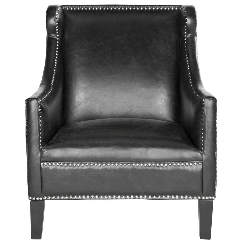black leather occasional chair safavieh mckinley antique black leather club arm chair 11215 | antique black safavieh accent chairs mcr4735a 64 1000