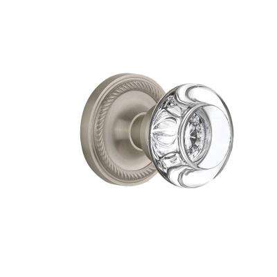 Rope Rosette 2-3/4 in. Backset Satin Nickel Privacy Bed/Bath Round Clear Crystal Glass Door Knob