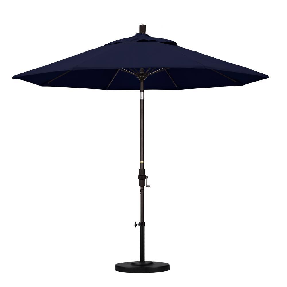 9 ft. Fiberglass Collar Tilt Patio Umbrella in Navy Blue Olefin