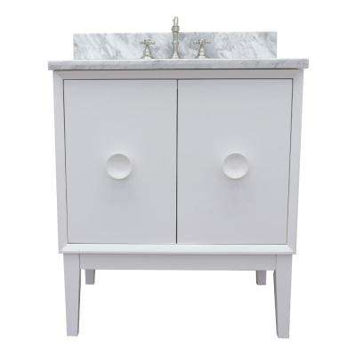 Stora 31 in. W x 22 in. D Bath Vanity in White with Marble Vanity Top in White with White Oval Basin