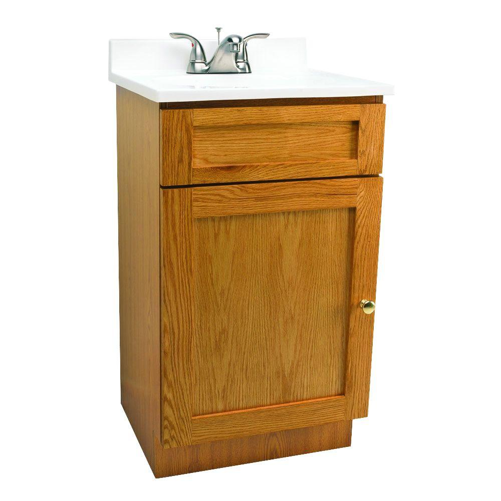 Design House 19 in. Vanity in Oak with Cultured Marble Vanity Top in White