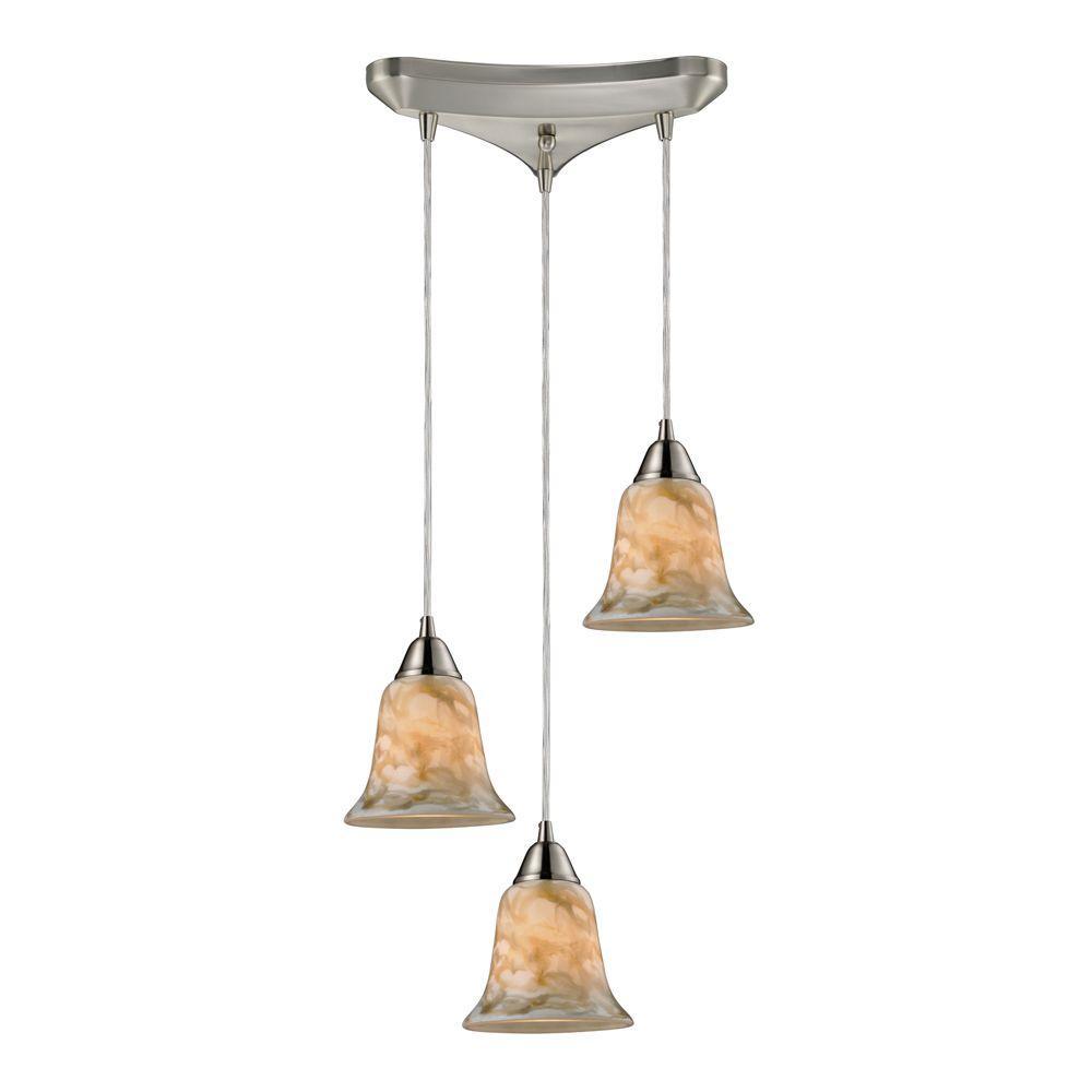 Titan Lighting Confections/Nougat 3-Light Satin Nickel Ceiling Mount Pendant