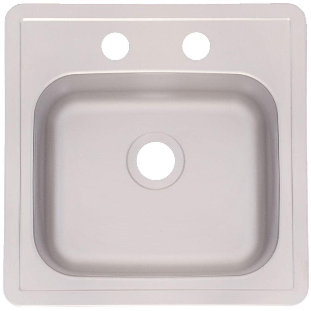 franke drop in stainless steel 15x15x6 2 hole single bowl kitchen sink fbfs602nkit the home depot. Black Bedroom Furniture Sets. Home Design Ideas