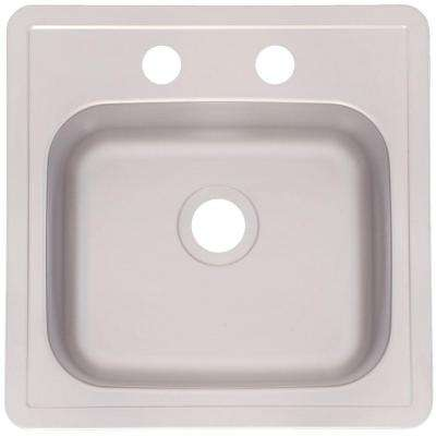 Drop-In Stainless Steel 15x15x6 2-Hole Single Bowl Kitchen Sink
