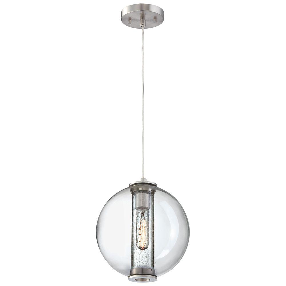Cosmos 1-Light Satin Nickel Hanging Pendant with Clear Seedy Glass