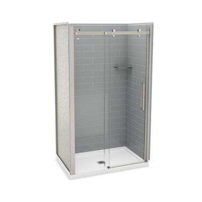 Utile Metro 32 in. x 48 in. x 83.5 in. Center Drain Alcove Shower Kit in Ash Grey with Brushed Nickel Shower Door