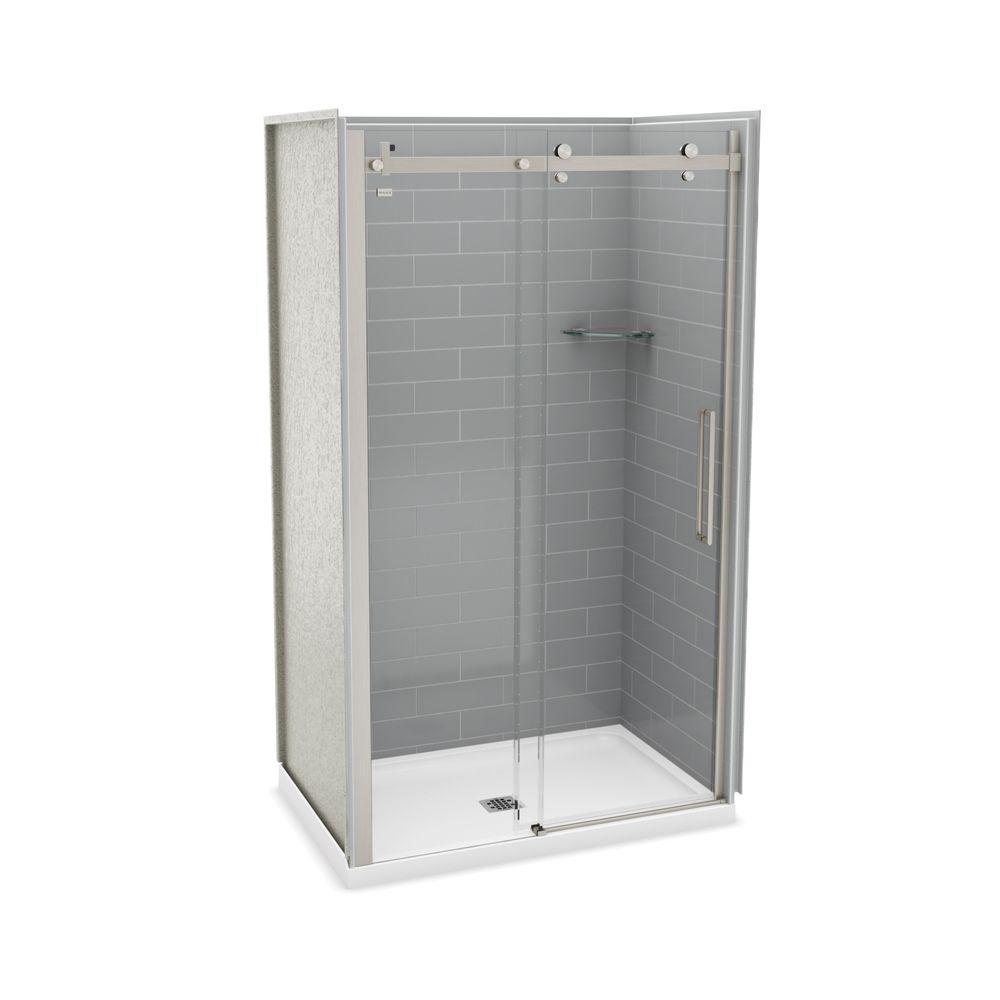 Utile Metro 32 in. x 48 in. x 83.5 in. Center Drain Alcove Shower Kit in Ash Grey with Brushed Nickel Shower Door
