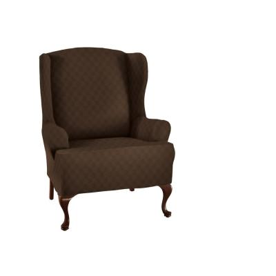 Newport Chocolate Wing Chair Stretch Slipcover