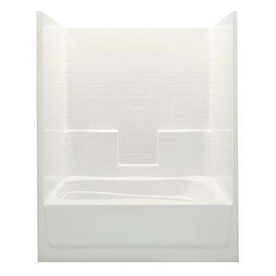 Everyday Smooth Tile 60 in. x 36 in. x 76 in. 1-Piece Bath and Shower Kit with Left Drain in Biscuit