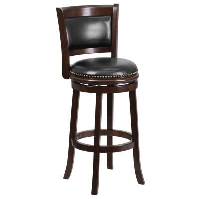 29 in. High Cappuccino Wood Bar Stool with Panel Back and Black Leather Swivel Seat