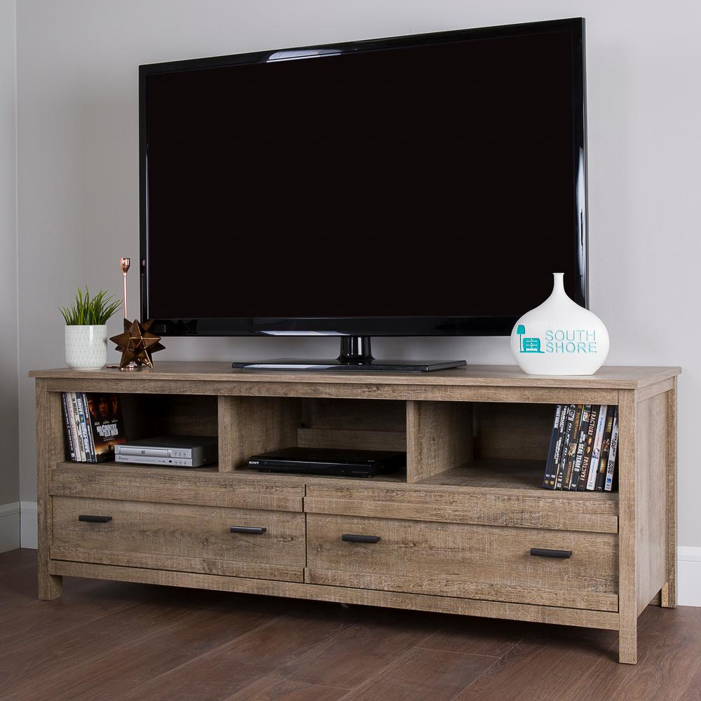 Genial South Shore Exhibit Weathered Oak Storage Entertainment Center